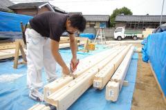 ランタサルミログハウス 組上げ風景(愛媛県松山市近郊松前町 2棟目)