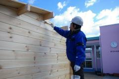 愛媛県東温市立重信幼稚園に建築中のミニログ進捗状況