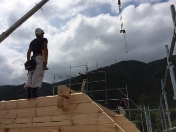 北欧住宅フィンランドログハウス ログ組上がりました! 愛媛県新居浜