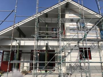 北欧ログハウス 外壁板張り・無垢フローリング工事 in愛媛県西条市
