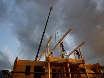 四国初!北欧住宅展示場 フィンランドログハウス工事状況。