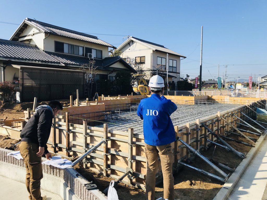 香川県高松市 大型分譲地のログハウス 北欧住宅新築工事 JIO基礎配筋検査立会