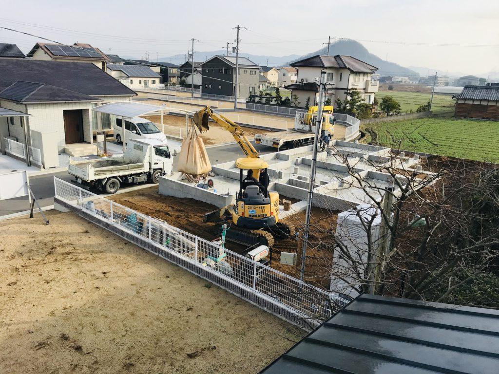 香川県高松市 大型分譲地内のログハウス 北欧住宅新築工事 安心・安全な自慢の基礎!
