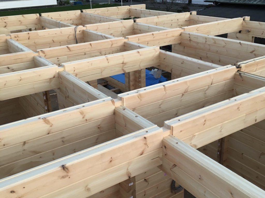 香川県高松市 大型分譲地のログハウス 北欧住宅新築工事 ログハウスの構造美 耐震・免震・木造最強のわけ!