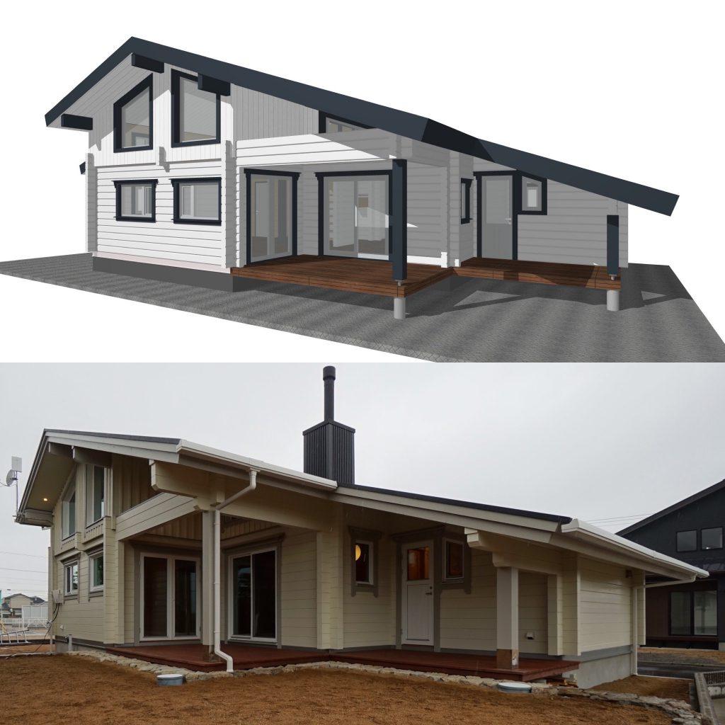 自由設計・フリープランで造る北欧ログハウス   デザインコンセプト高松市のログハウス